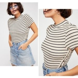 Free People Sexy Snap Striped High Neck Tee